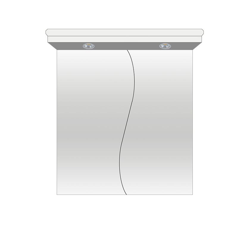 ogledalo za kupatilo, sa svetlom, od medijapana, beli