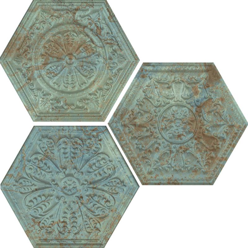 lux plocice, apavisa, porcelanske plocice, dizajn, plocice, cink, bronza, zelene, heksagon
