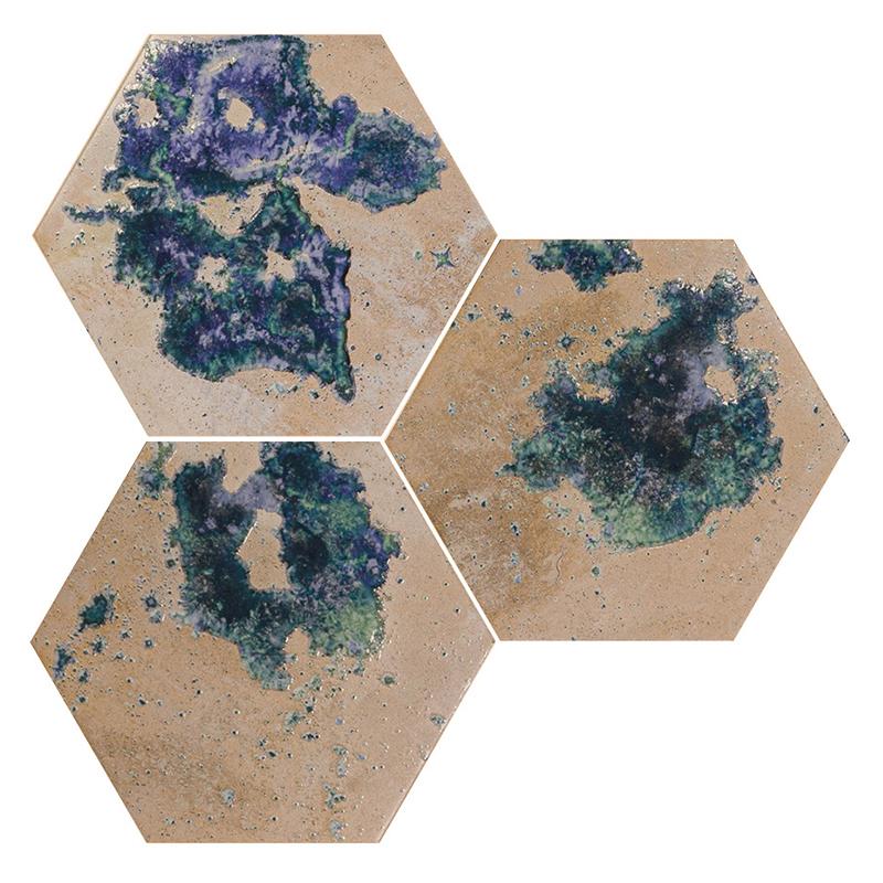 lux plocice, heksagon, umetnicke, plavo, crem, porcelanske plocice